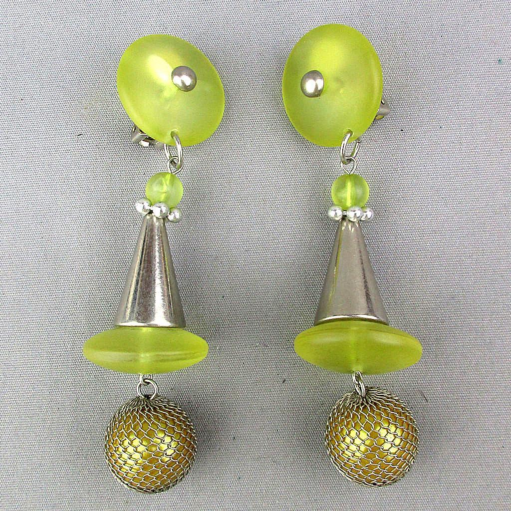 Vintage Lucite - Chrome Clip Earrings Long Dangles