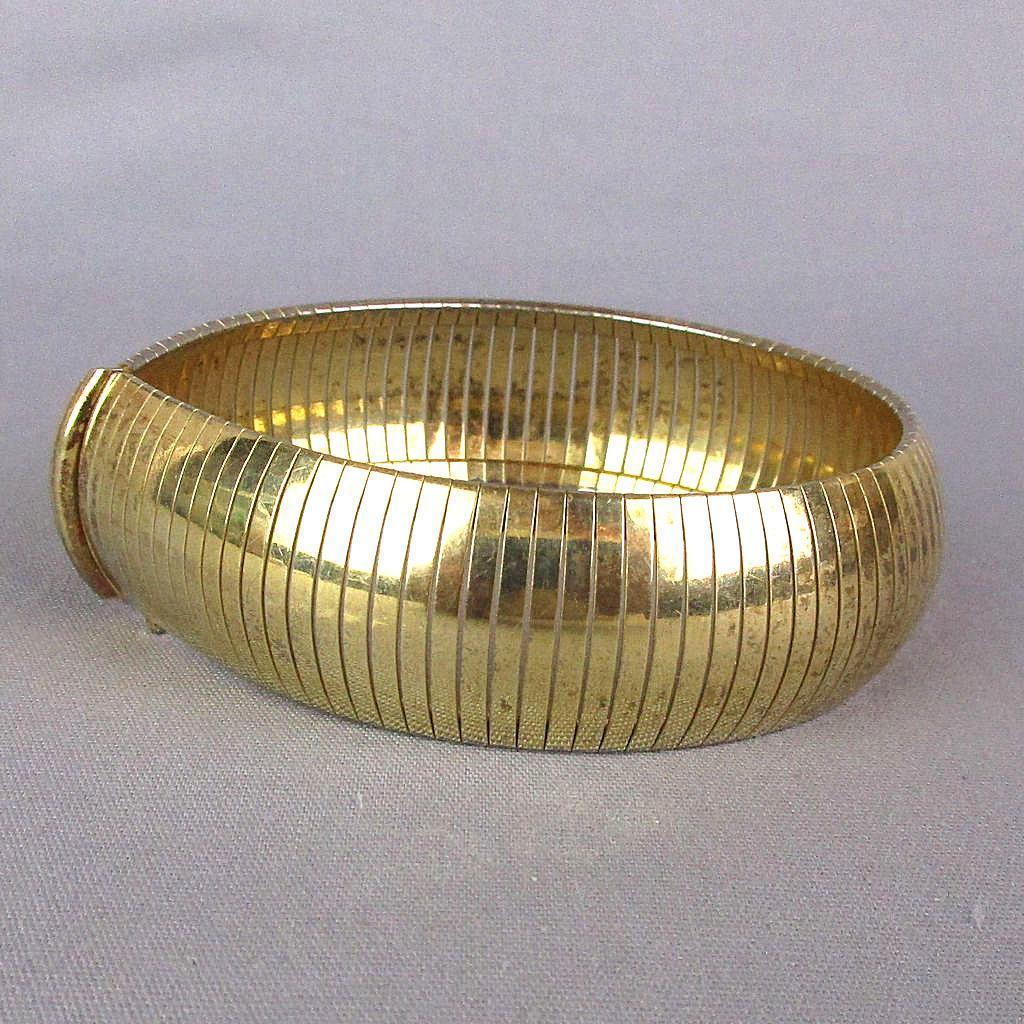 Vintage Italian Omega Bracelet Gold on Bronze Signed