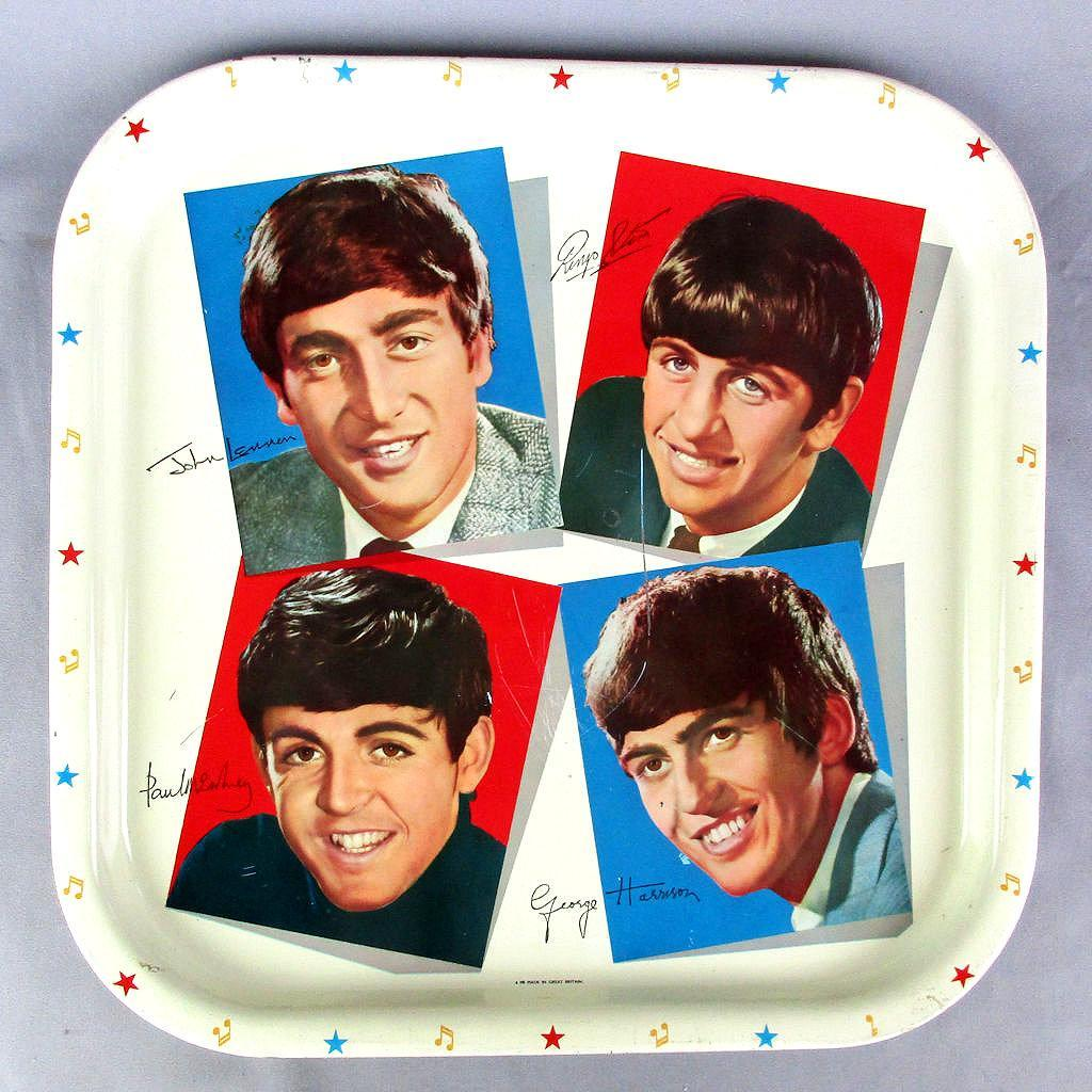 Original 1964 Beatles Metal Tray Worcester Ware Britain
