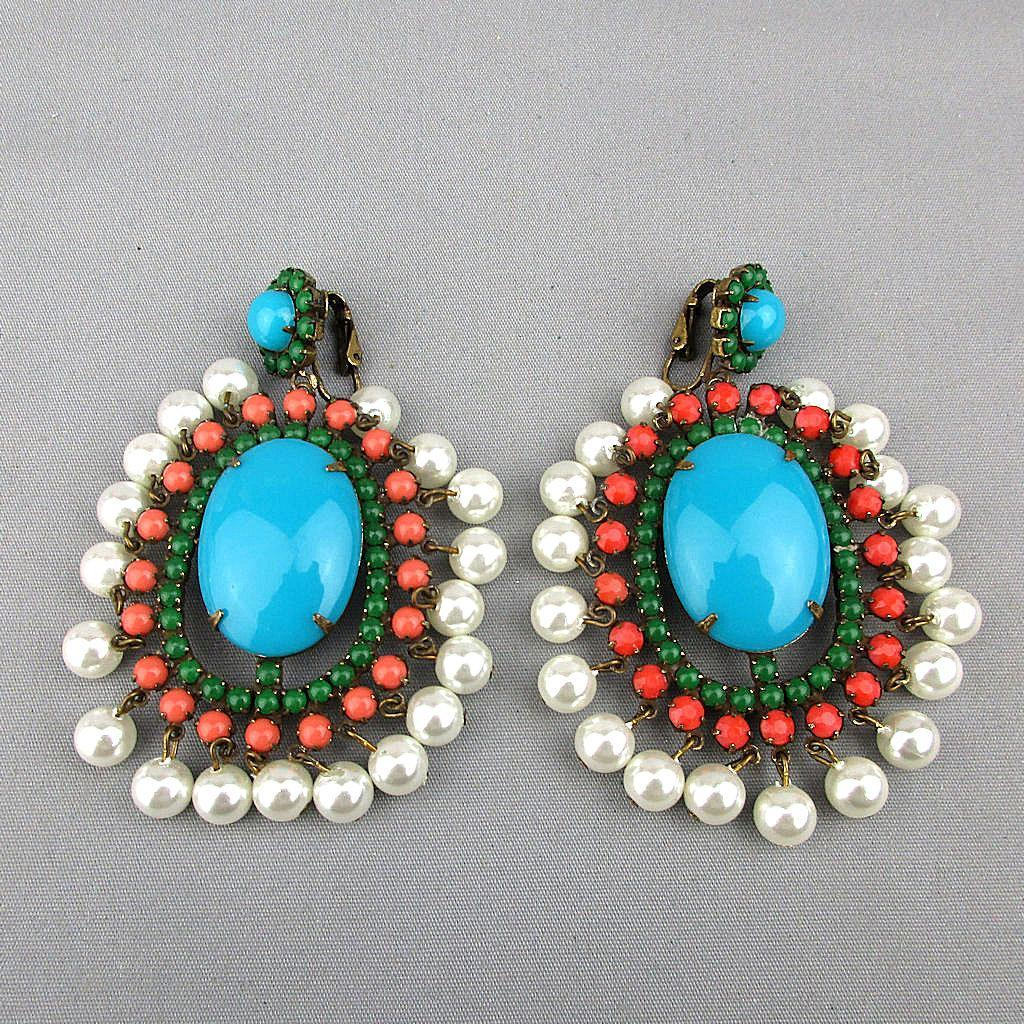 1960s KJL Big Faux Turquoise Coral Pearl Jade Earrings Kenneth Lane