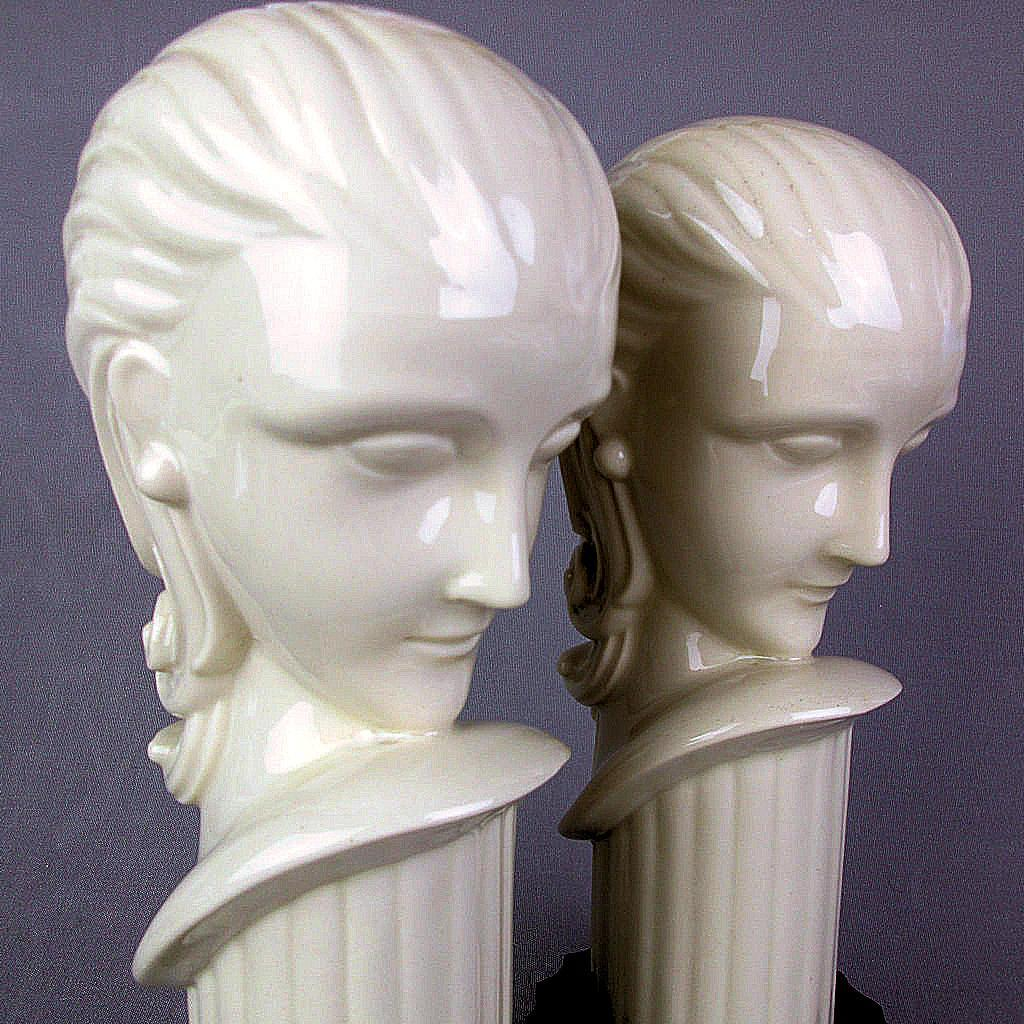 Pair Art Deco White Porcelain Heads Female Bust Statue