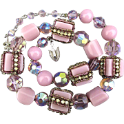 Vendome Necklace w/ Rhinestone Wrapped Glass Beads - Crystals