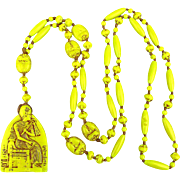 1920s Neiger Brothers Czech Glass Egyptian Revival Bead Necklace