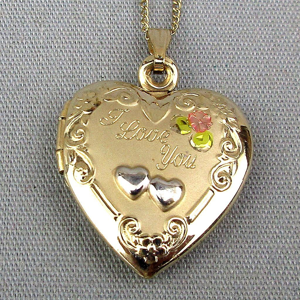 Vintage Gold-Filled HEART Locket ~ I Love You ~ Pendant Necklace