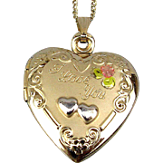 Vintage Gold-Filled HEART Locket ~ I Love You ~ Pendant Necklace