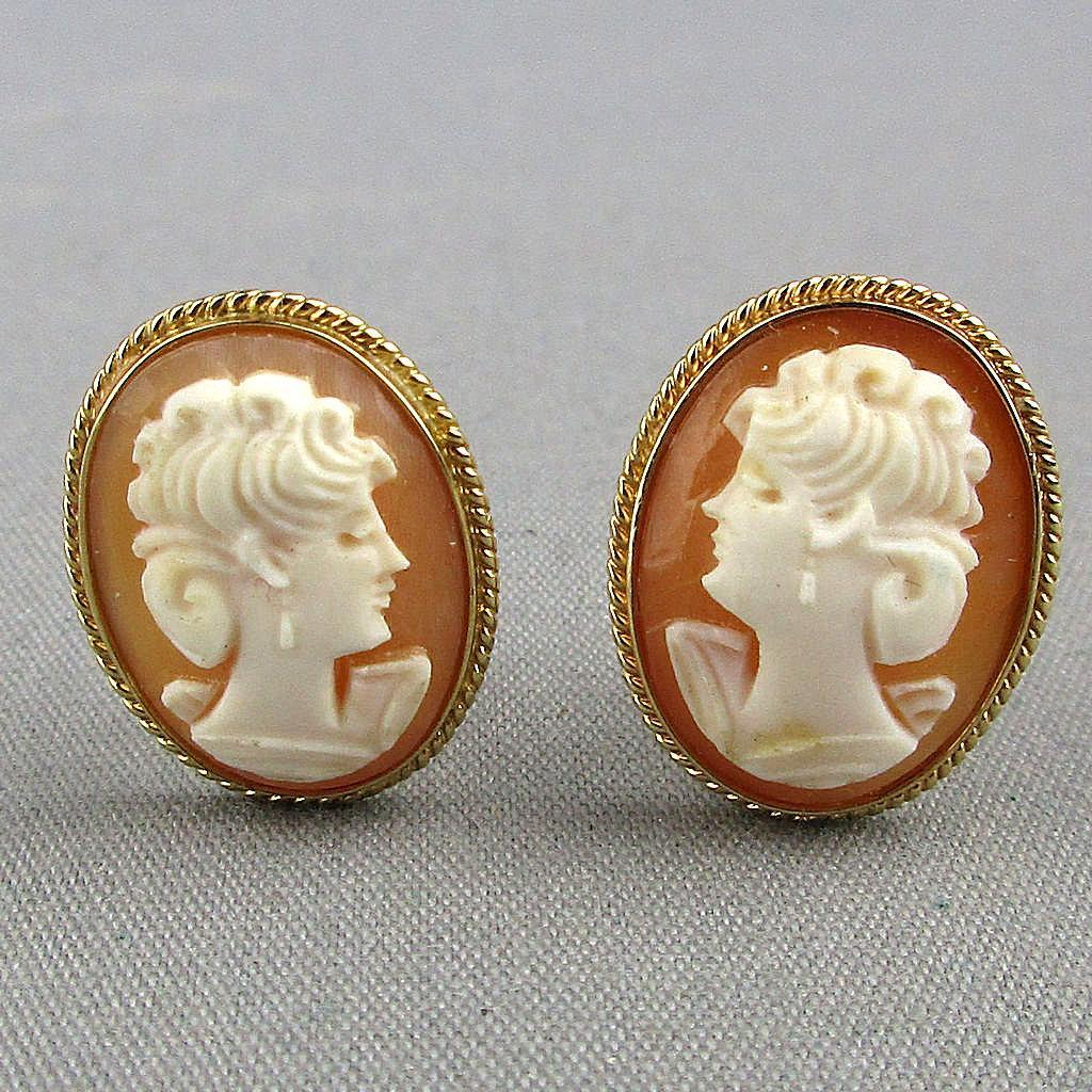 Estate 14K Gold Carved Shell Cameo Lady Earrings