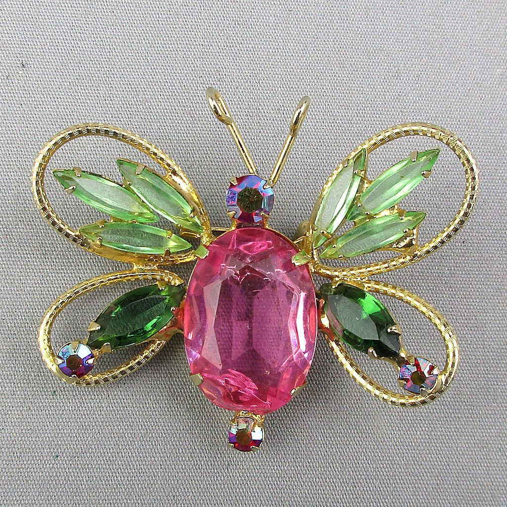 Big Vintage Rhinestone Butterfly Pin Brooch