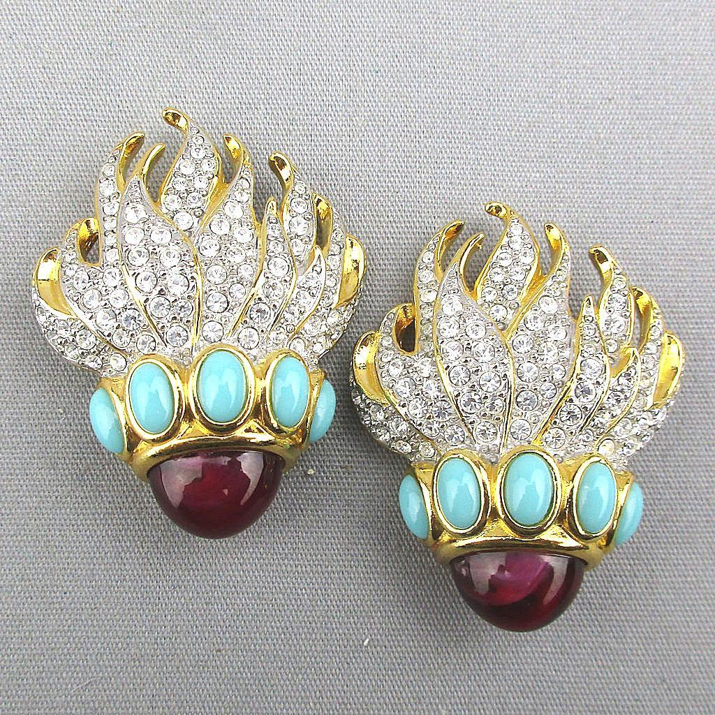 Elizabeth Taylor Eternal Flame Clip Rhinestone Earrings for Avon