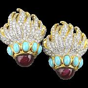 Elizabeth Taylor Eternal Flame Clip Rhinestone Earrings for Avon
