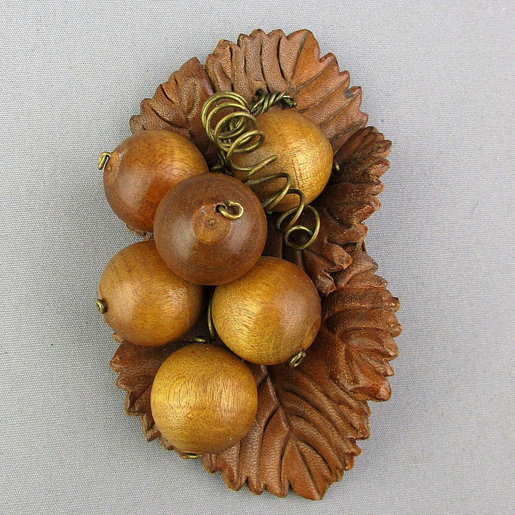 Big Unusual Pin - Wood Berries on Leather Leaves - c1940s