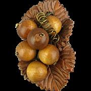 Big Unusual Pin - Wood Berries on Leather Leaves - c1940s