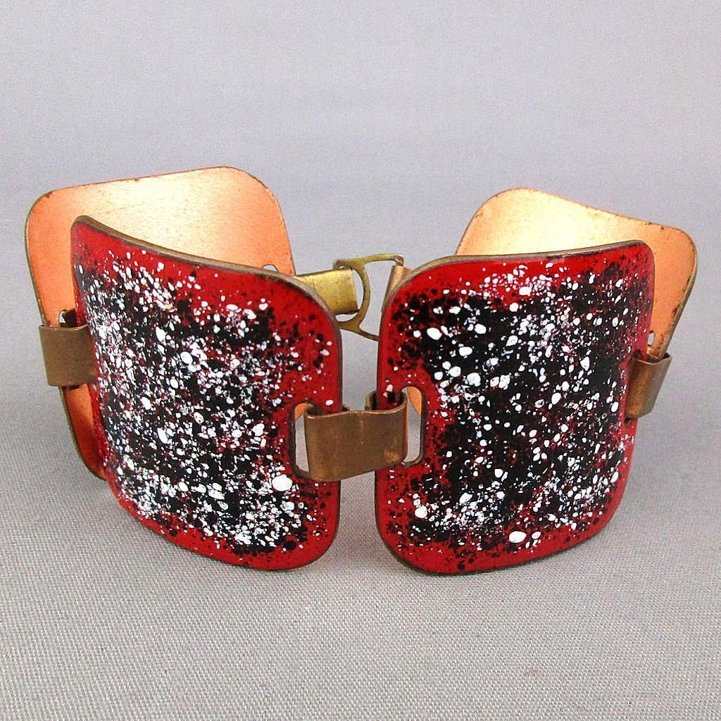 Vintage Wide Red Speckled Enamel Copper Bracelet