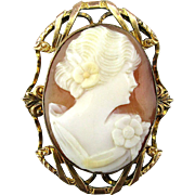 Vintage 1920s Carved Shell Cameo Girl Pin 10K Gold-Filled