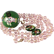 Big 1920s Chinese Necklace 14K Gold Enamel Ball Pink Quartz Beads