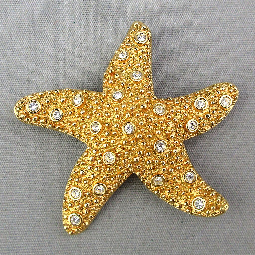 Swarovski Starfish Pin - Faux Gold w/ Crystals