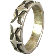 Vintage Mens Sterling Silver Ring Band Modernist Design