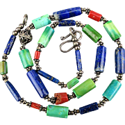 Vintage Gemstone Bead Necklace Lapis Coral Turquoise Sterling