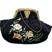 Vintage French Silk Handbag w/ Embroidery Enamel Beads Faux Pearls
