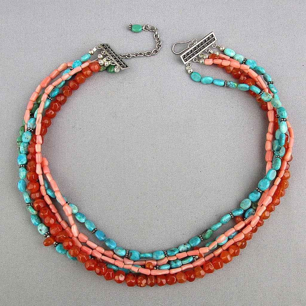 Sterling Silver 5 Strand Necklace Turquoise Coral Carnelian Beads