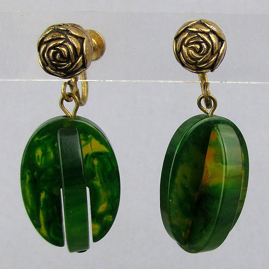 Unusual 2-Color Bakelite Dangle Earrings Green / Applejuice