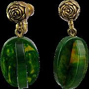 Unusual 2-Color Bakelite Dangle Earrings Green / Applejuice