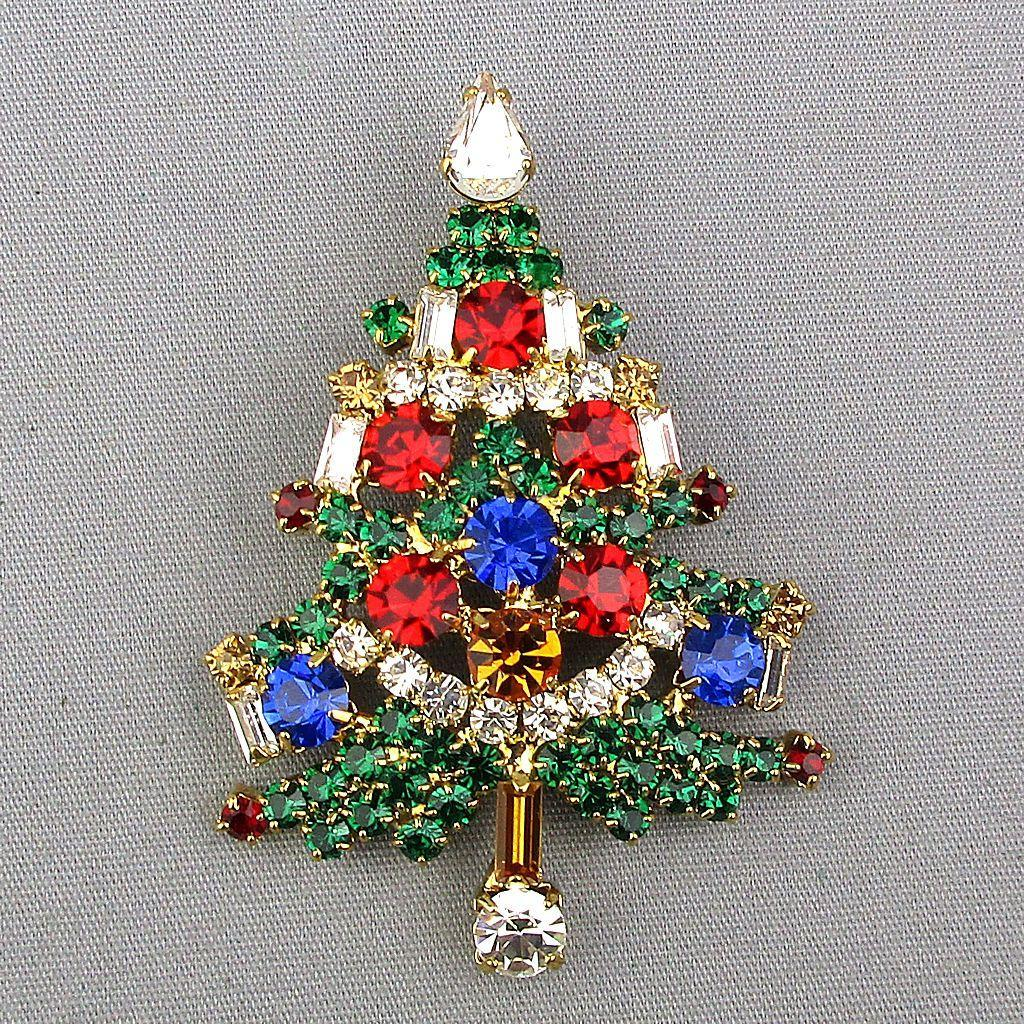 Multi Color Crystal Rhinestone Christmas Tree Pin Brooch