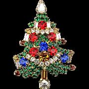 Multi Color Crystal Rhinestone Christmas Tree Pin Brooch