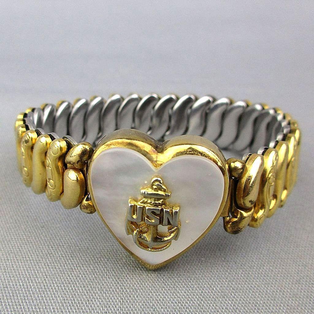 Vintage 1940s Gold-Filled Stretch Sweetheart Bracelet U.S.N. Navy