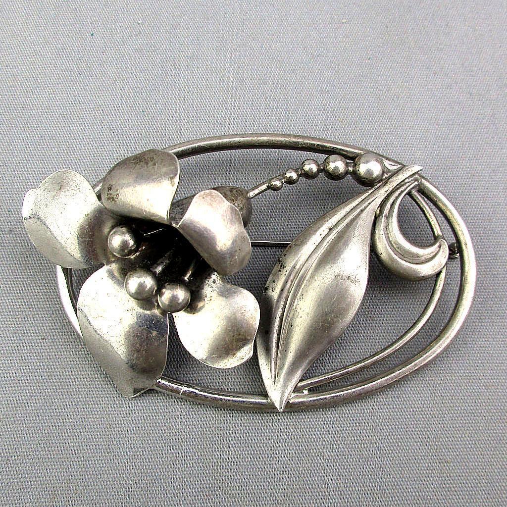 Vintage B B Sterling Silver Figural Flower Pin Brooch