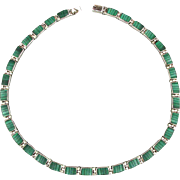 Vintage Mexican 950 Silver Malachite Necklace