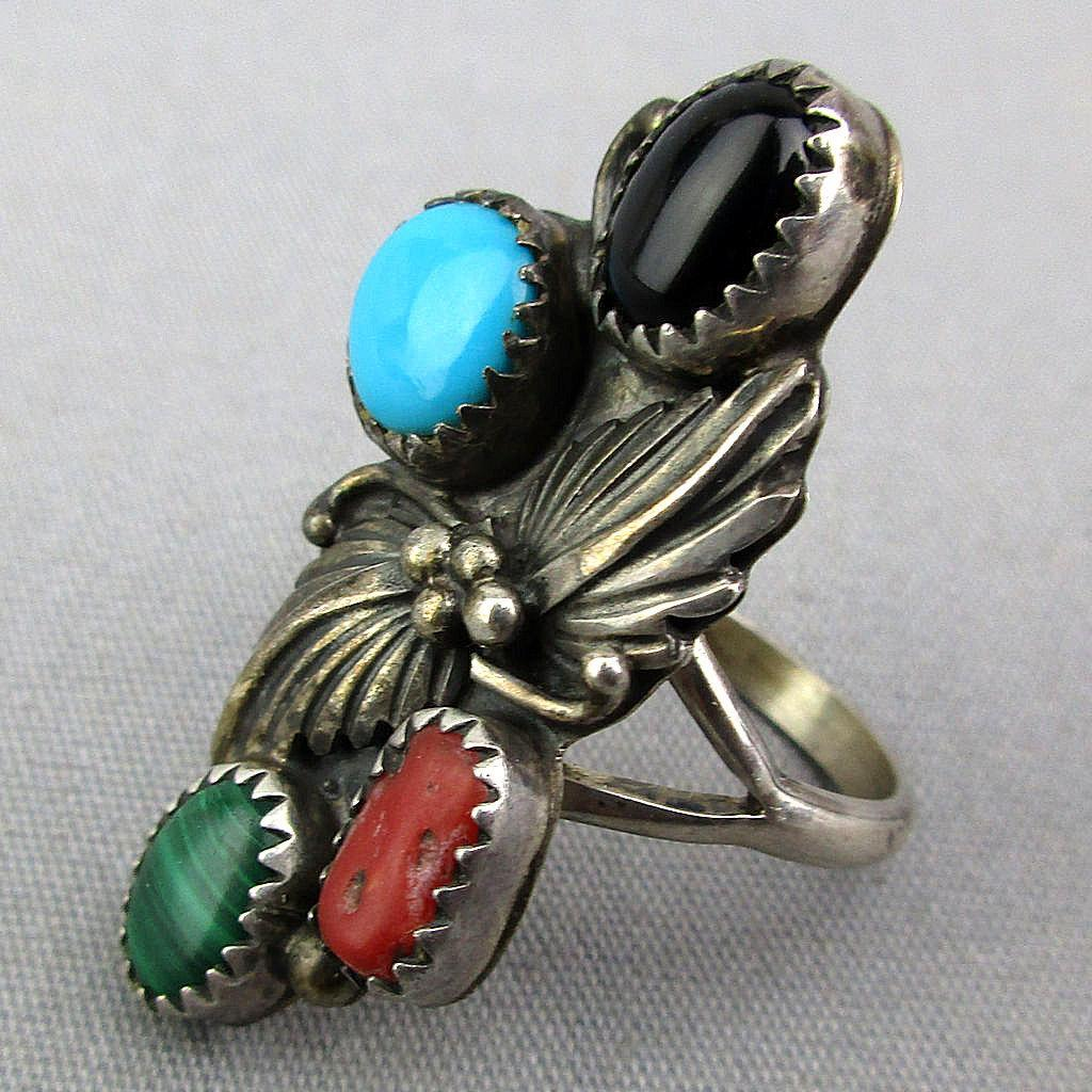 Navajo Sterling Silver Ring Turquoise Coral Onyx Malachite EDE