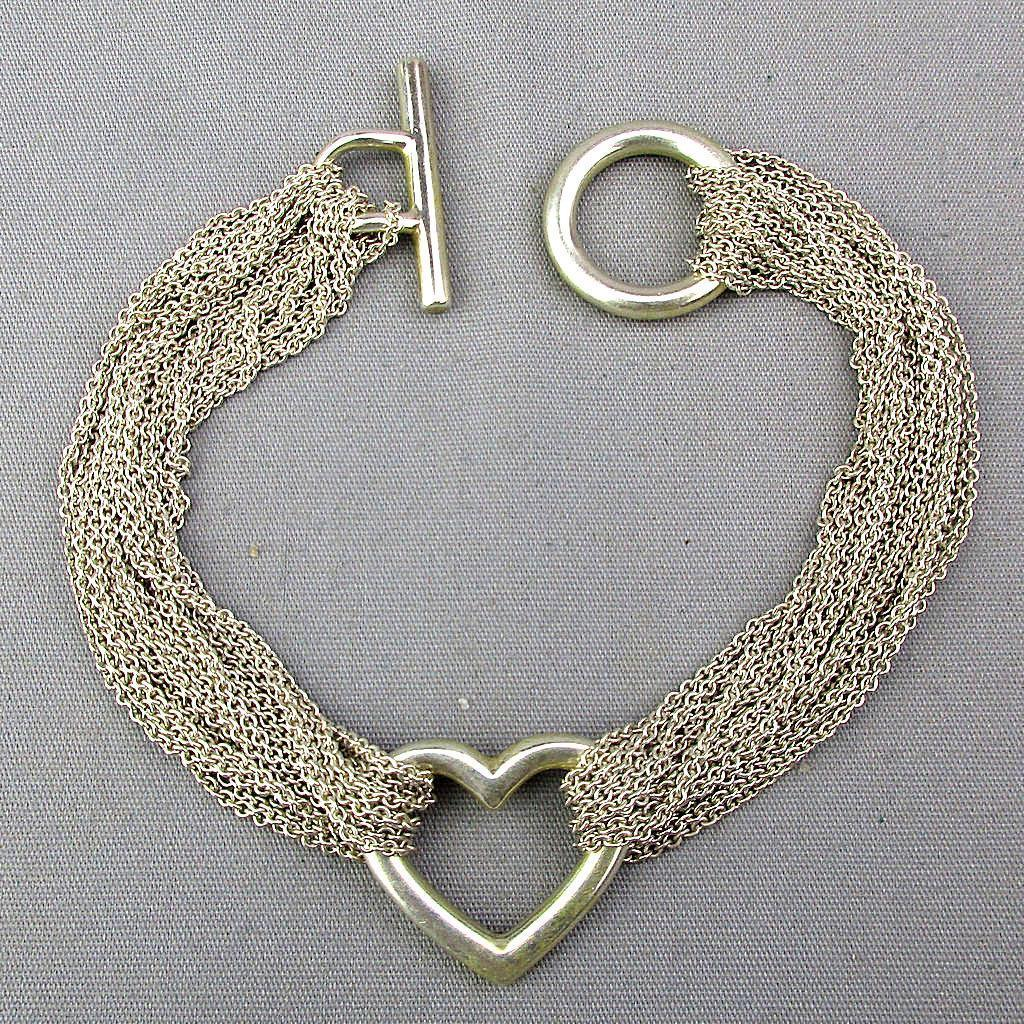 Tiffany & Co. Multi Chain Mesh Heart Bracelet Sterling Silver 925