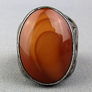 Mens Mid Century Sterling Silver Ring Big Striped Agate Stone