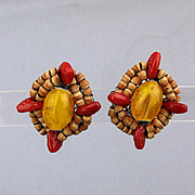 Vintage 1950s Miriam Haskell Glass Coral Bead Earrings