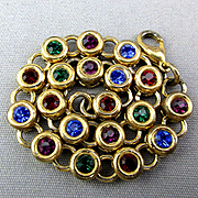 Vintage Colorful DOTS Link Bracelet - Crystals in Circles