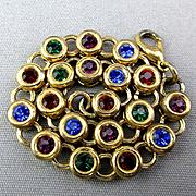 Vintage Colorful DOTS Link Bracelet - Crystals in Circles