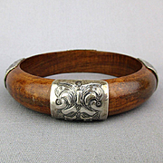 Vintage Silpada Wood Sterling Silver Bangle Bracelet
