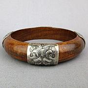 Vintage Silpada Wood Sterling Silver Bangle Bracelet