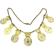 Antique Victorian Necklace 17th C. Watch Cocks w/ Diamond Center