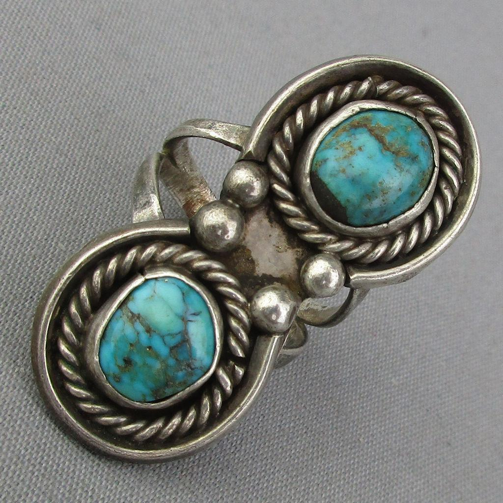 Old Navajo Sterling Silver Ring w/ Twin Turquoise