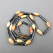 Angel Skin Coral & Hematite Bead Necklace