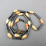 Angel Skin Coral & Hematite Bead Necklace