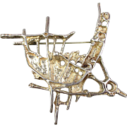1960s Modernist JUHLS Sterling Silver Pin Tundra Norway