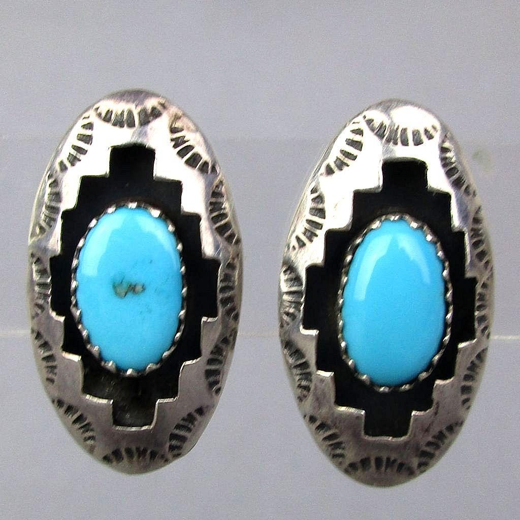 Vintage Navajo Sterling Silver Turquoise Earrings
