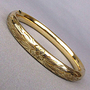 1930s Carl-Art Gold-Filled Bangle Bracelet - Hinged Etched Floral