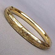 1930s Carl-Art Gold-Filled Bangle Bracelet - Hinged Etched Floral