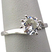 Antique Solitaire Diamond Ring in Platinum .58 ct.
