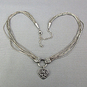 Gorgeous Liquid Sterling Silver Necklace w/ Repousse Heart
