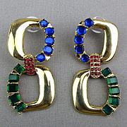 Vintage Designer Scaasi Couture Crystal Rhinestone Earrings