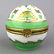 Limoges France Porcelain Box Round Pill Trinket Ball